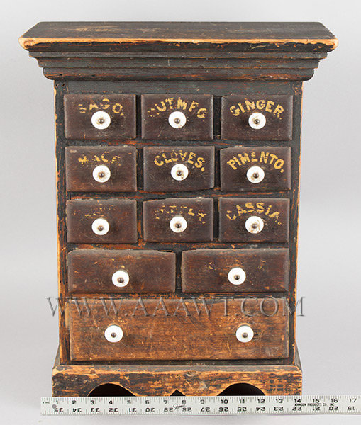 Spice Chest, Original Brown Surface, Yellow Lettering, Porcelain Knobs Late 19th Century, scale view