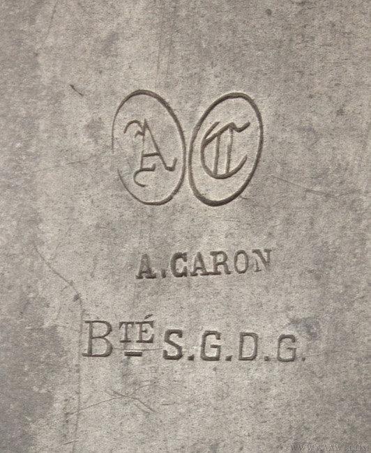 Antique Pewter Castor Oil Spoon, marked Antoine Caron, 19th Century, mark detail