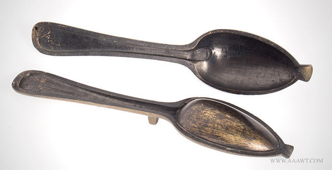 Antique Bronze Spoon Mold for Pewter Spoon, American, 18th Century, open view