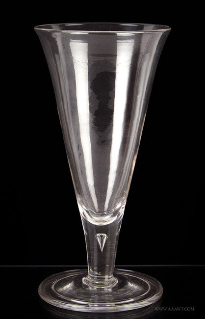 Antique Blown Colorless Ale Glass with Funnel Shaped Bowl, Georgian, entire view