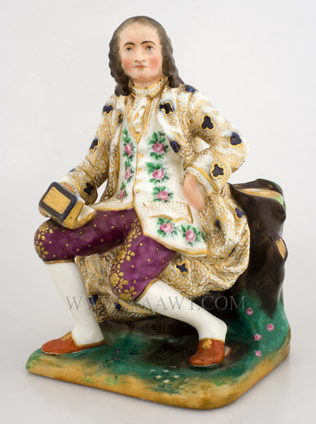 Porcelain Figure of Voltaire, French Philosopher, Statesman  Francois Marie  Hand Painted and Gilded  Continental, anonymous  Late 19th or early 20th Century, entire view