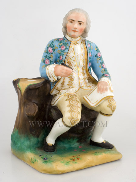 Porcelain Figure of Rousseau, Philosopher, Writer, and Composer  Jean Jacques Rousseau  Hand Painted and Gilded  Continental, anonymous  Late 19th or early 20th Century, entire view