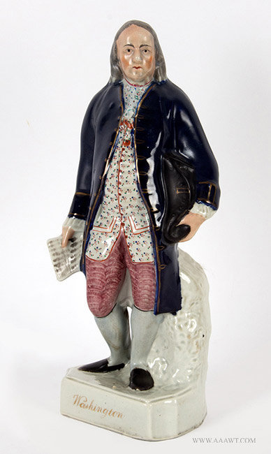 Antique Staffordshire Figure, Ben Franklin Labeled as Washington, Circa 1860, angle view