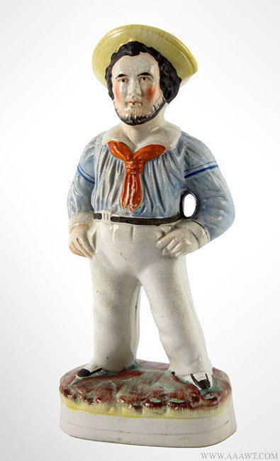Antique Staffordshire Jack Tar/Happy Sailor, English, Circa 1850, angle view