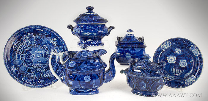 Staffordshire Dark Blue Transferware, Lot, Teapot, 3 Sugar Bowls England, 19th Century, entire view