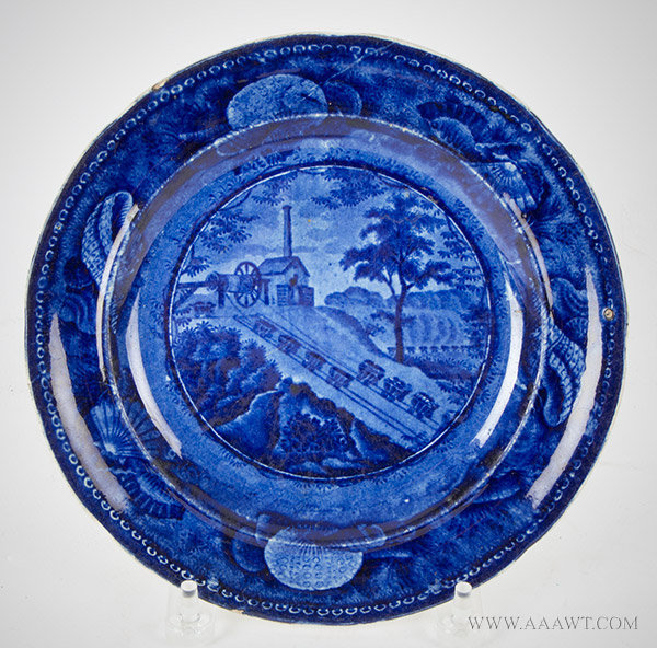 Staffordshire, Historical Transfer Printed Plate, Baltimore and Ohio Railroad