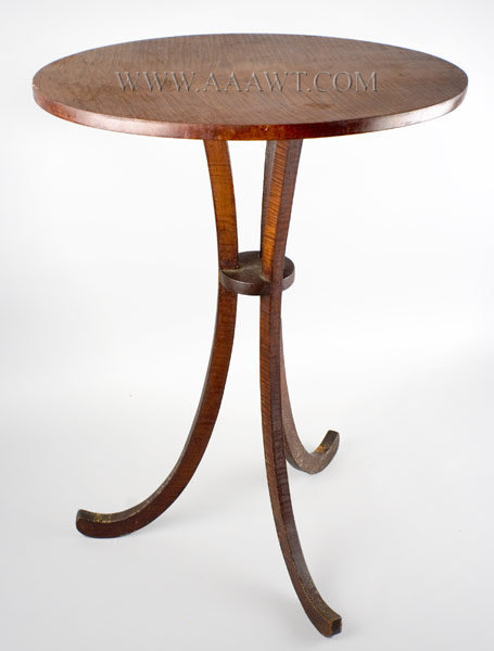 Candlestand, Curly Maple New England Hartford Springfield Area Circa 1820 to 1830, entire view
