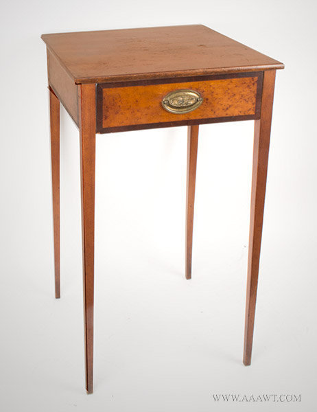 Antique Federal One Drawer Stand with Birds Eye Maple Panels, Circa 1800, angle view