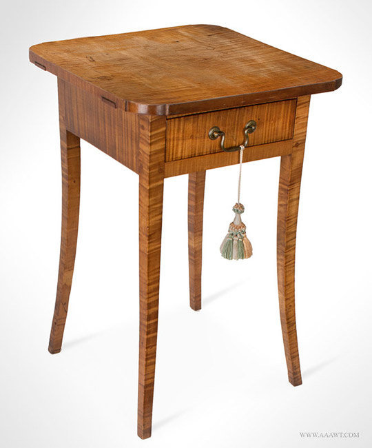 Antique Hepplewhite Tiger Maple Single Drawer Stand, New Hampshire, 19th Century, angle view