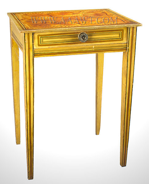 Federal Work Table, Stand, One Drawer, Paint Decorated, Fancy Paint Maine Circa 1820 to 1840, entire view