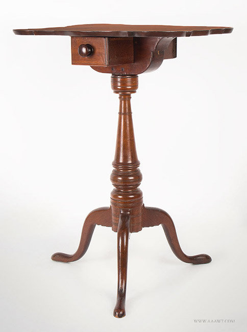 Antique Chapin School Candlestand with Double Ended Candle Drawer, Connecticut, Circa 1790, angle view 2