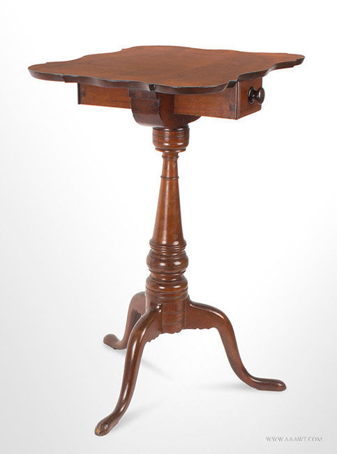 Antique Chapin School Candlestand with Double Ended Candle Drawer, Connecticut, Circa 1790, angle view 1