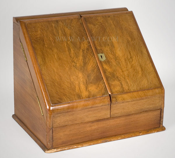 Writing Box, Stationery/Folio, Letter, Copying Box With Writing Slope, Roll Calendar, Slate Pad, Ink Wells England Circa 1860 to 1880, angle view