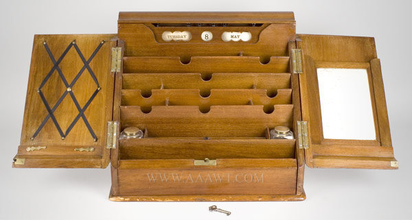 Writing Box, Stationery/Folio, Letter, Copying Box With Writing Slope, Roll Calendar, Slate Pad, Ink Wells England Circa 1860 to 1880, open view