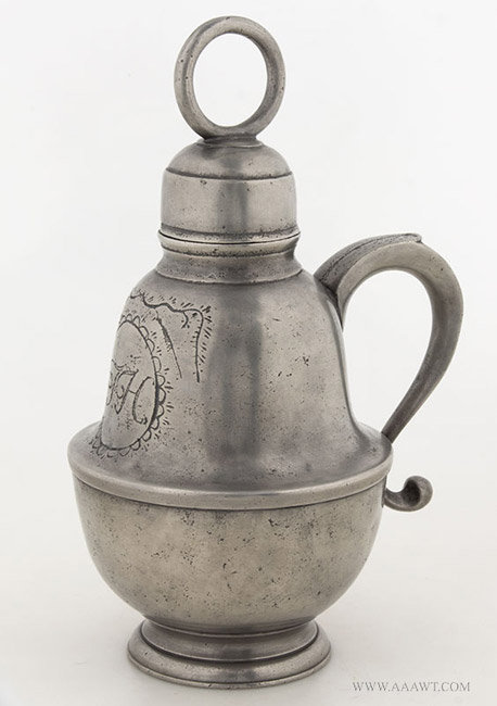 Antique Pewter Status Container by William Eddon, English, angle view