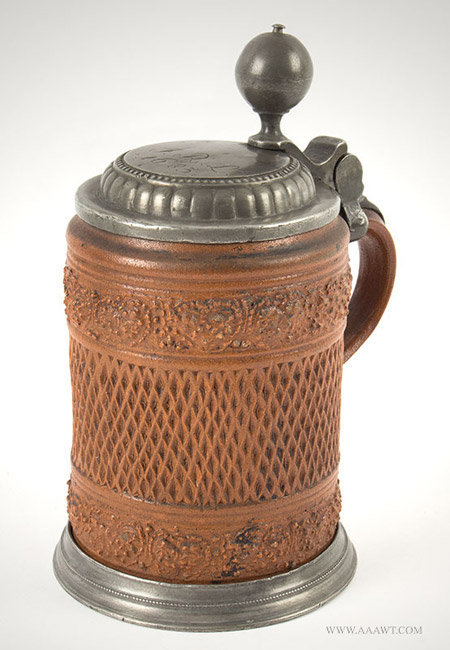 Antique Pewter Mounted Brown Salt Glazed Stein, German, Circa 1670, angle view 1