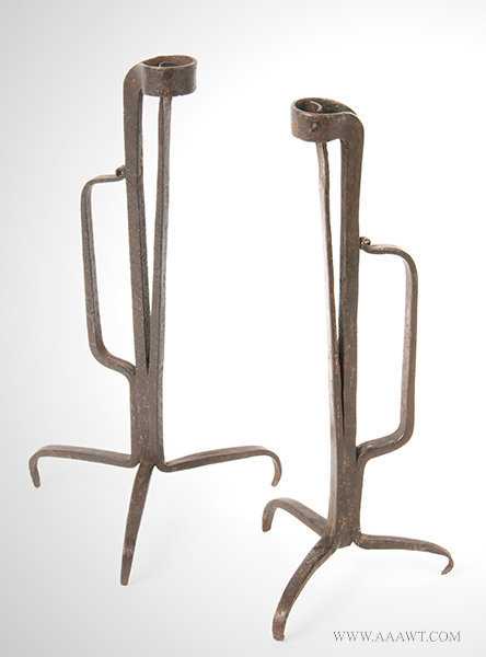 Antique Pair of Wrought Iron Tabletop Lightings Pieces, 18th or Early 19th Century, pair view 1