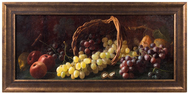 Antique Still Life of Spilled Basket of Fruits, Anonymous, Circa 1890, entire view