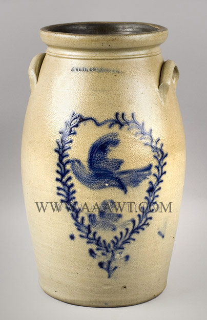 Stoneware Churn, Flying Bird Decoration within Wreath, Cobalt, 19''    Impressed, White and Co. / Binghamton    New York, Circa 1870, entire view