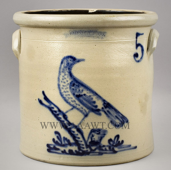 Burger and Co., Stoneware Crock, Cobalt Bird on Stump, Five Gallon    Rochester, New York, Circa 1873 to 1883, entire view