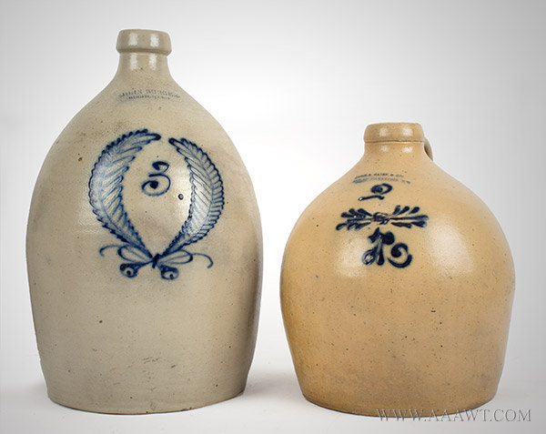 Stoneware, Jugs, Cobalt Decoration, New York, entire view
