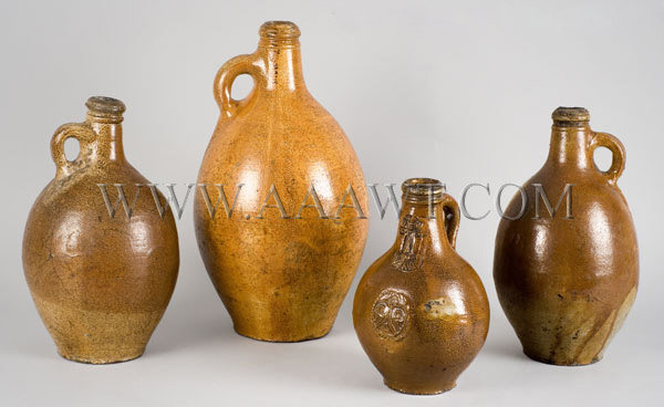 Stoneware Jugs    17th and 18th Century, entire view