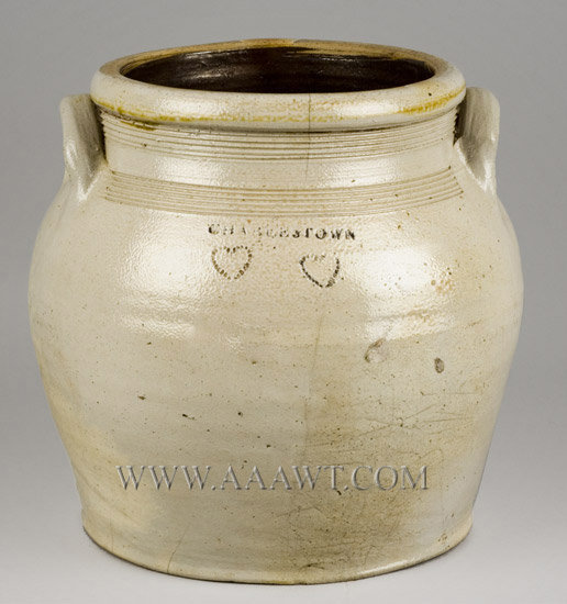 Stoneware Jar, Charlestown, Impressed Coggled Double Heart Decoration    Massachusetts, Early 19th Century, entire view
