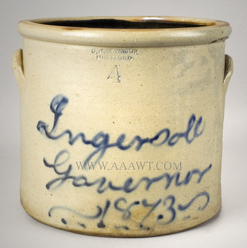 Political Stoneware, Crock, Charles Ingersoll, Connecticut Governor, 1873, entire view