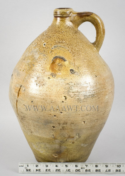 Stoneware Jug, Ovoid, Three Gallon, Carpenter Type    Boston    Circa 1800 to 1830, scale view