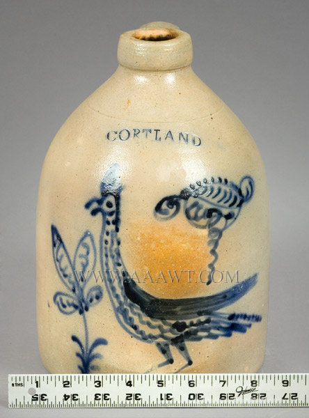 Stoneware Jug with Slip Trailed 'Goony Bird' Decoration    Stamped 'CORTLAND,'' attributed to Madison Woodruff    Cortland, New York, Circa 1865, entire view