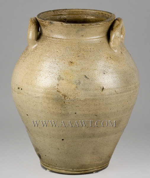 Stoneware, Ovoid Jar, Open Lug Handles, Fenton Type, Two Gallon    Boston, Circa 1800, entire view