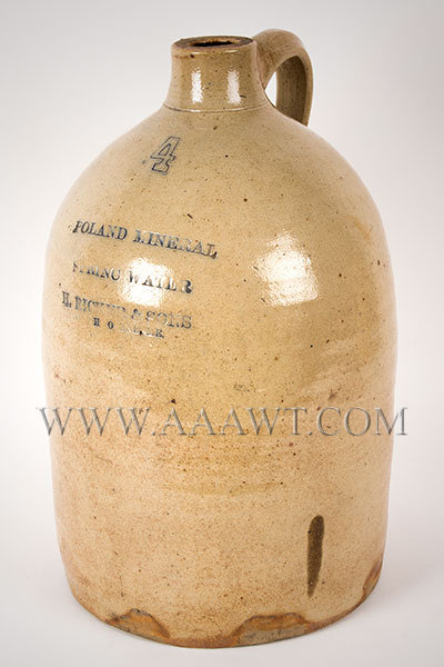 Stoneware, Poland Mineral, Spring Water, H. Ricker & Sons, South Portland Maine, entire view