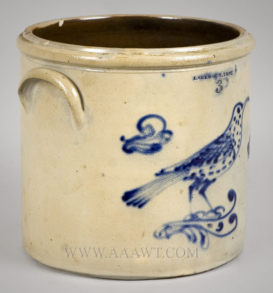 Stoneware, Cobalt Long Billed Spotted Bird    I. Seymour (Israel)    Troy, New York    1830's, entire view