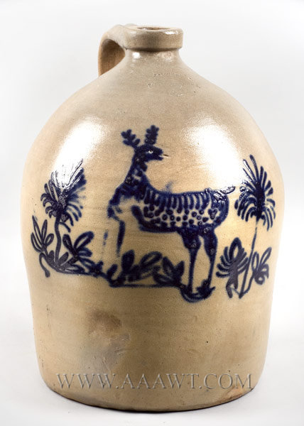 Stoneware Jug, Cobalt Stag Decoration    Somerset Potter's Works (1847 to 1909)    Massachusetts, Circa 1875 , entire view