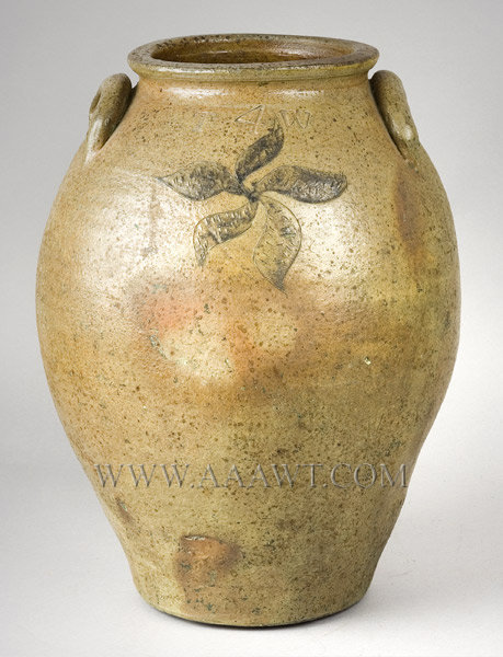 Incised Ohio Stoneware Jar, Likely Thomas Wilbur, Impressed TW    Zanesville, Ohio Area, Circa 1825, entire view
