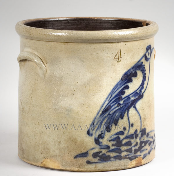 Stoneware Crock, Cobalt Bird    Troy or Albany, New York    Anonymous    Circa 1870, entire view