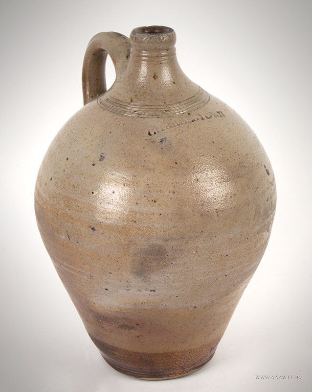 Antique Salt Glazed Stoneware Ovoid Jug Stamped 'CHARLESTOWN', Circa 1815, angle view