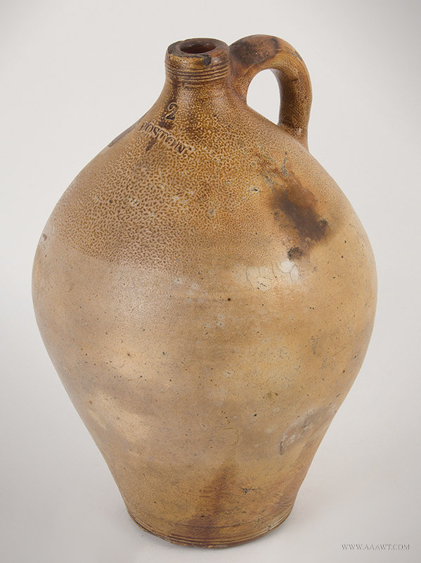 Antique Salt Glazed Ovoid Stoneware Two Gallon Jug, Impressed BOSTON, 19th Century, angle view