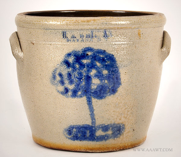Stoneware Crock by H.M. Whitman from Havana, New York, entire view