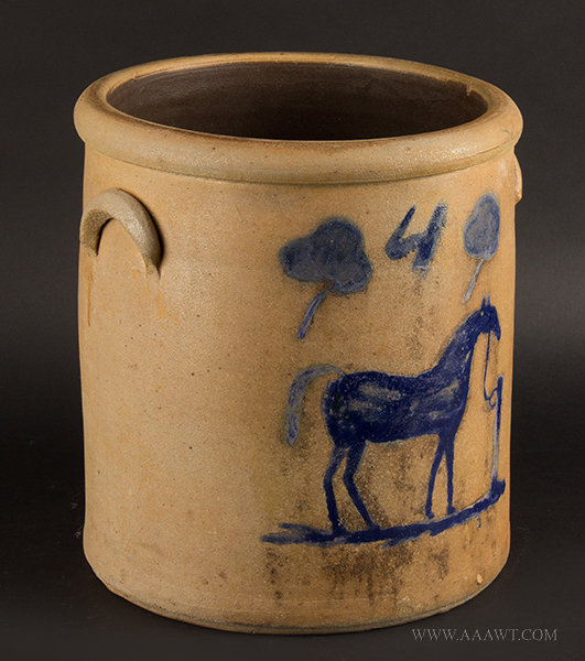 Antique Stoneware Crock with Brushed Cobalt Horse at Hitching Post, Four Gallons, 19th Century, angle view