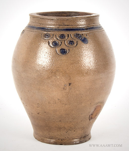 Ovoid Crolious Stoneware Jar with Impressed Decoration, Circa 1800, entire view