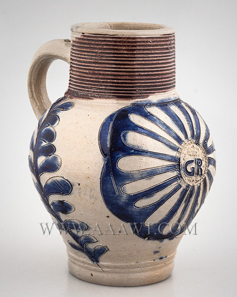 Salt Glazed Stoneware Jug, GR, Picked out in Blue, Scarce Small Size