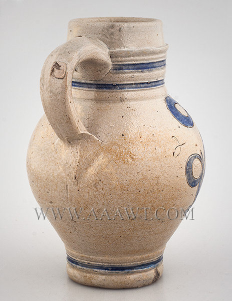 Antique Westerwald  Stoneware Jug, Salt Glazed, GR, Picked out in Blue