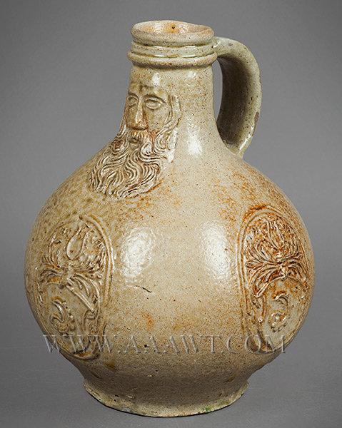 Salt Glazed Stoneware Jug, Gray Beard, Bartmann, Bellarmine Original Condition Germany, 1650, entire view