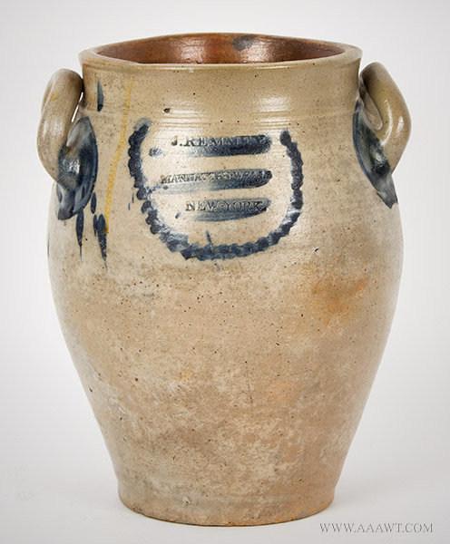 Stoneware Ovoid Jar by James Remmey, Circa 1810, entire view