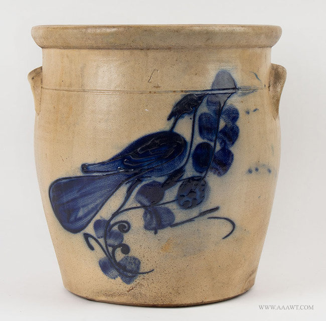 Antique Four Gallon Stoneware Crock with Cobalt Bird Decoration, 19th Century, entire view