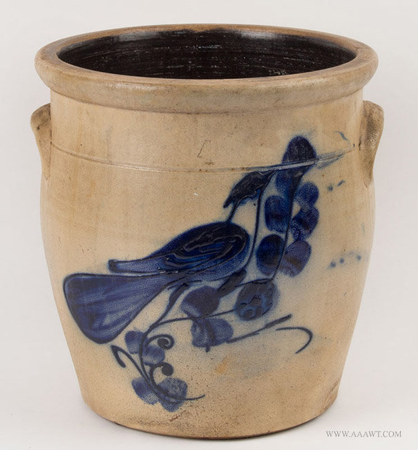 Antique Four Gallon Stoneware Crock with Cobalt Bird Decoration, 19th Century, angle view