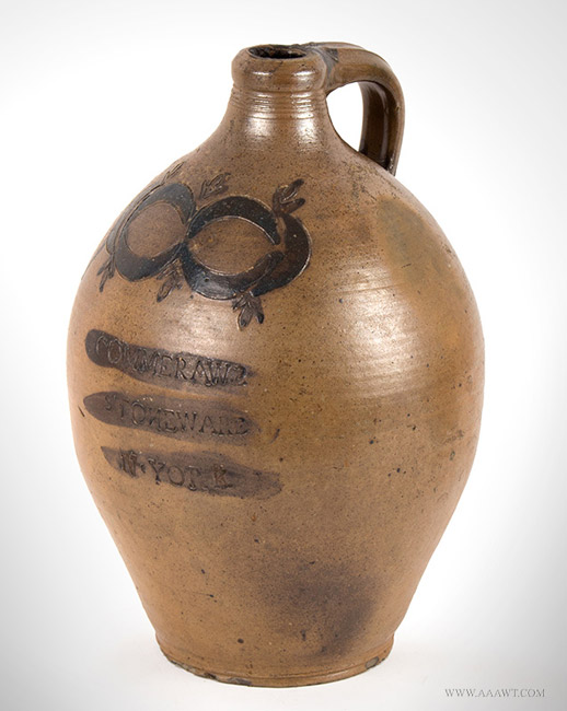 Antique Stoneware Ovoid Jug with Incised Crescents and Tassels, Late 18th Century, angle view 2
