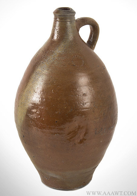 Antique Stoneware Jug with Incised Circles Decoration, 19th Century, angle view 1