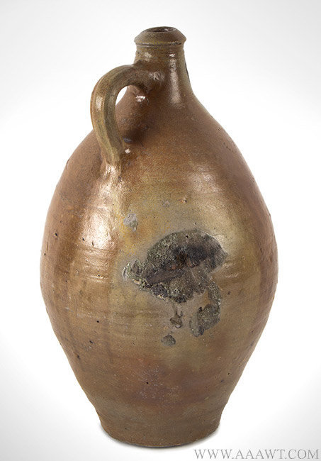 Antique Stoneware Jug with Incised Circles Decoration, 19th Century, rear angle view